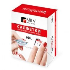 Milv, Салфетки для снятия гель-лака и лака, 200 шт.
