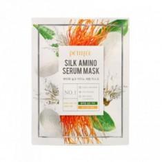 функциональная маска для борьбы с морщинами petitfee silk amino serum mask