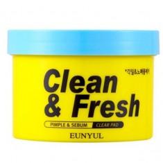 очищающие подушечки с кислотами eunyul clean & fresh pimple & sebum clear pad