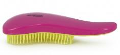DEWAL BEAUTY Щетка массажная для легкого расчесывания волос, мини, с ручкой, цвет розово-желтый