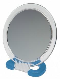 DEWAL BEAUTY Зеркало настольное, в прозрачной оправе, на пластиковой подставке синего цвета 230x154 мм