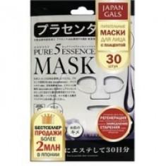 Japan Gals Pure 5 Essential - Питательные маски для лица с плацентой, 30 шт.