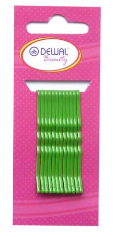 DEWAL BEAUTY Невидимки зеленые, волна 50 мм, 12 шт/уп