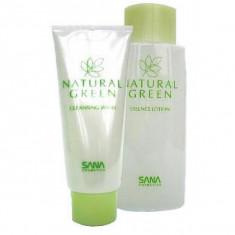 пенка-энерготоник для чувствительной кожи sana natural green cleansing foam