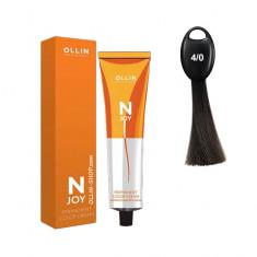 Ollin N-JOY 4/0 шатен перманентная крем-краска для волос 100мл OLLIN PROFESSIONAL