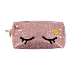 Косметичка LADY PINK с вышивкой EYES розовая