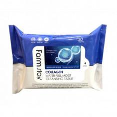 очищающие увлажняющие салфетки farmstay collagen water full moist cleansing tissue