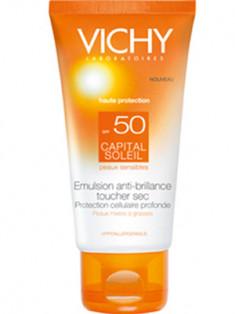 Виши Капиталь Солей SPF50 Матирующая солнцезащитная эмульсия для лица Драйтач 50 мл VICHY