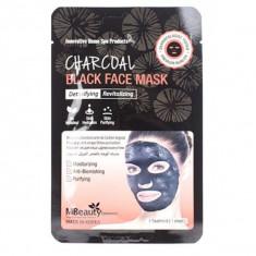 восстанавливающая тканевая детокс-маска для лица с древесным углем mbeauty charcoal black face mask