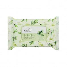 салфетки для снятия макияжа с целебными травами soleaf healing herb cleansing tissue