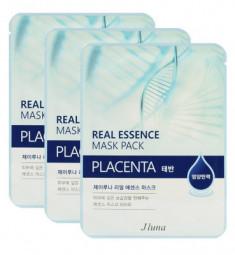 Тканевая маска с плацентой JUNO Real essence mask pack placenta 25мл*3шт