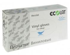 ECOLAT Перчатки виниловые, прозрачные, размер M / EcoLat 100 шт
