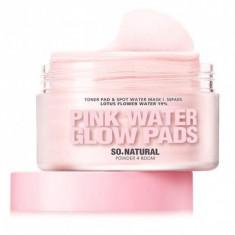 увлажняющие пады для лица с экстрактом лотоса и керамидами so natural pink water glow pads