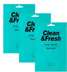 Набор тканевых масок для очищающего и увлажняющего эффекта EUNYUL CLEAN & FRESH PURIFY-HYDRATE SHEET MASK 22мл*3