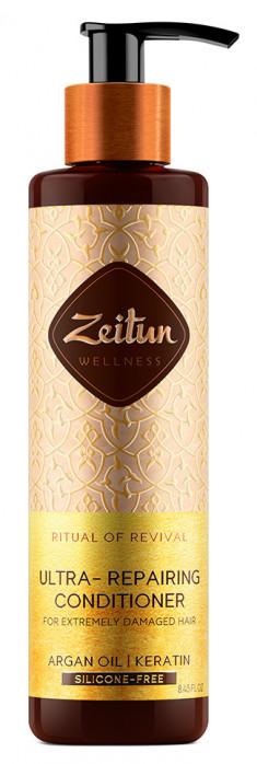 ZEITUN Бальзам-кондиционер с арганой и кератином для сильно поврежденных волос Ритуал восстановления 250 мл